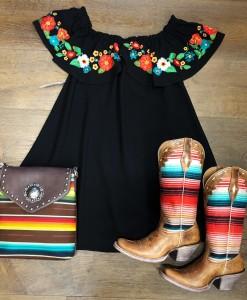 Embroidery Ruffle Dress ( Black )