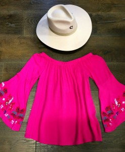 Off The Shoulder & Embroidery Bell Sleeve Top ( Fuchsia )