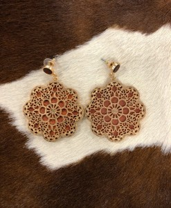 Floral Wood & Gold Cut Out Earrings