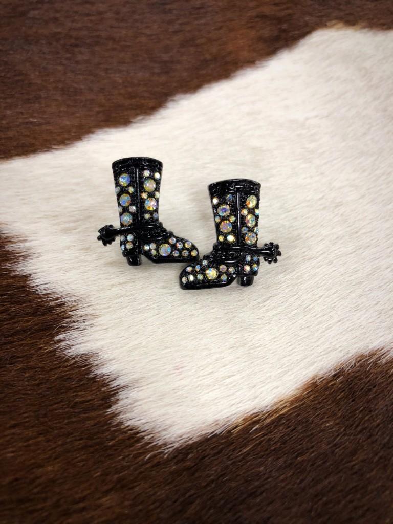Multi Color Crystal Cowgirl Boot Earrings ( Black )