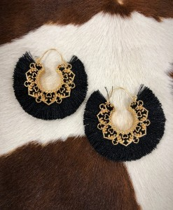 """ Alissa "" Cut Out  Tassel Moon Earrings"