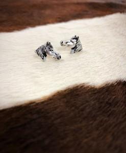 Horse Head Earrings ( Antique Gold )