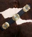 """ Sierra "" Turquoise Concho Stretch Belt  ( Black / Gold )"