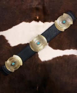 """ Sierra "" Turquoise Concho Stretch Belt  ( Black / Gold )"