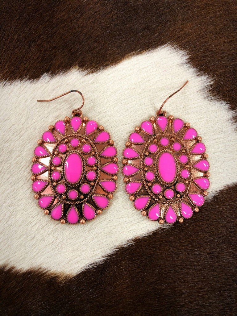 """ Lucy "" Western Concho Earrings ( Pink )"
