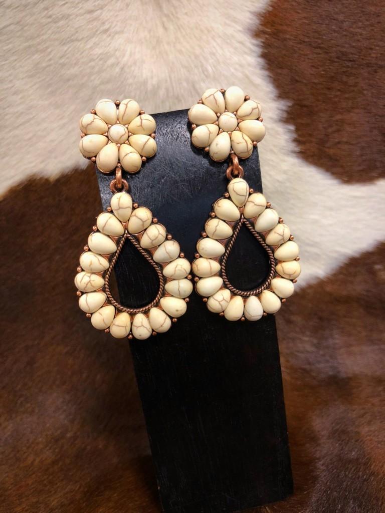 white gemstone earrings