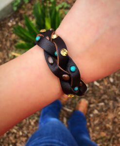 Braided Leather & Studded Bracelet ( Brown / Turquoise )