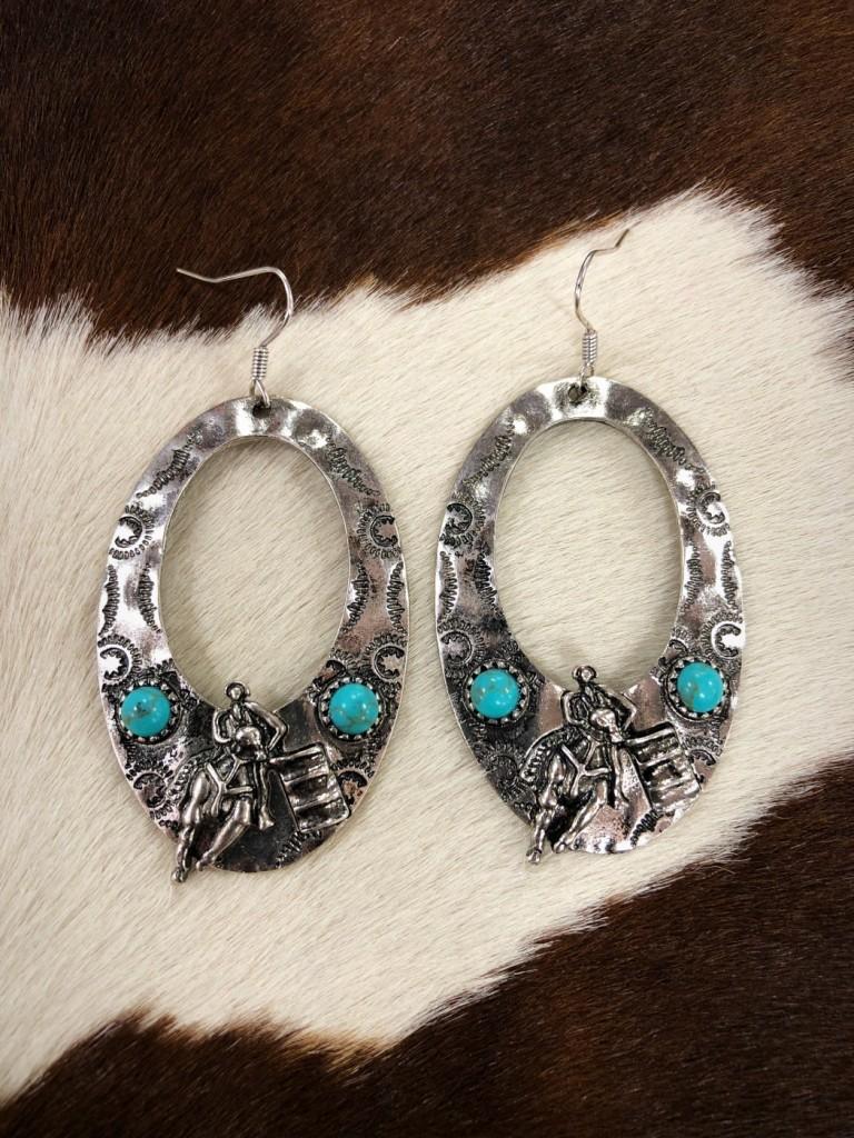 Western Barrel Racing Earrings ( Turquoise )