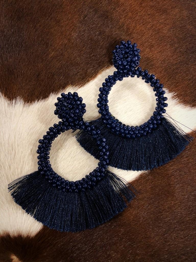 """"""" Lesley """" Bead & Tassel Earrings ( Navy )"""