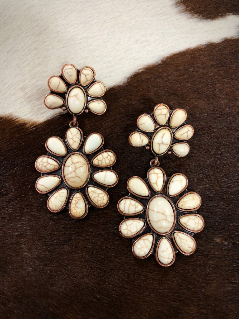 STONE FLOWER EARRINGS