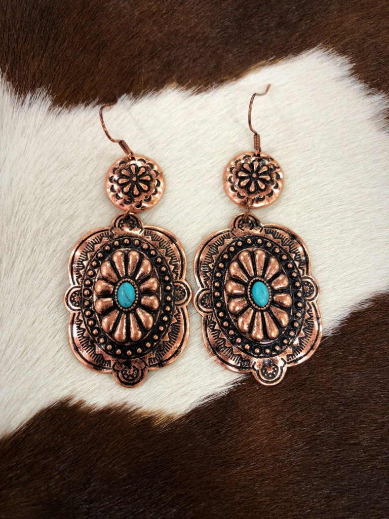 Western Concho Earrings ( Copper / Turquoise )