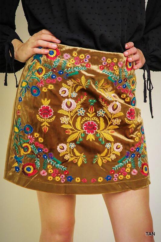 embroidery mini skirt velvet
