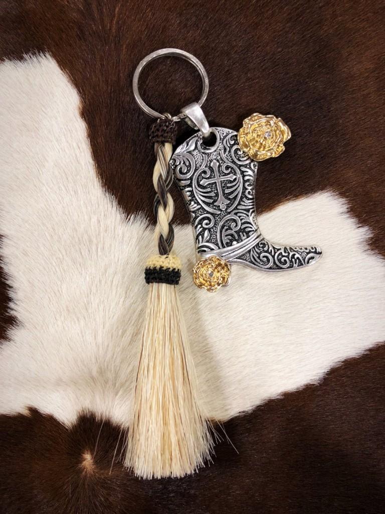 cowgirl custom keychain