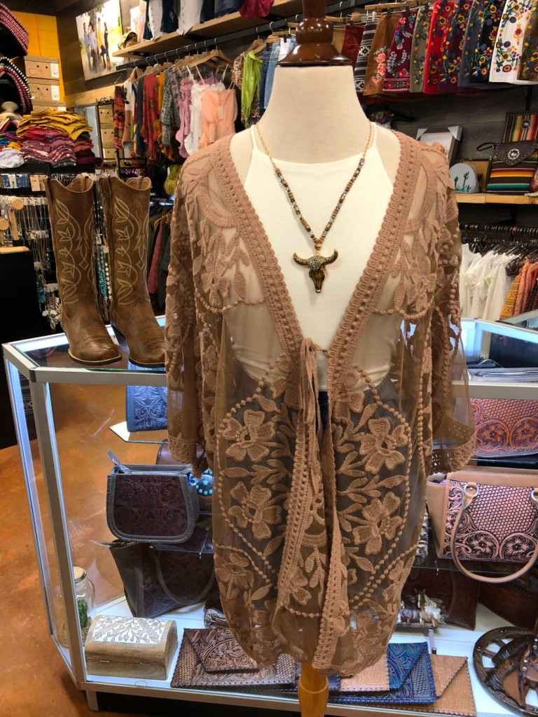 mocha sheer lace kimono