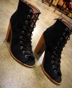 open toe lace up booties