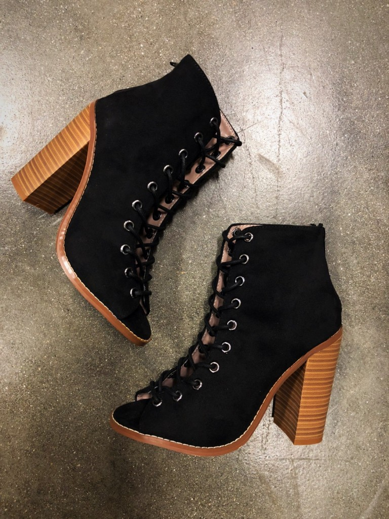 lace up booties open toe