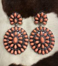 gemstone floral concho earrings