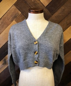 front button up crop sweater