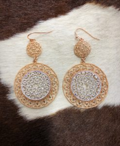 """ Brianna "" Double Round Cut Out Detail Earrings ( Copper / Silver )"