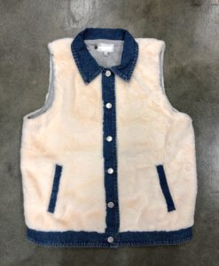 DENIM AND FUR VEST