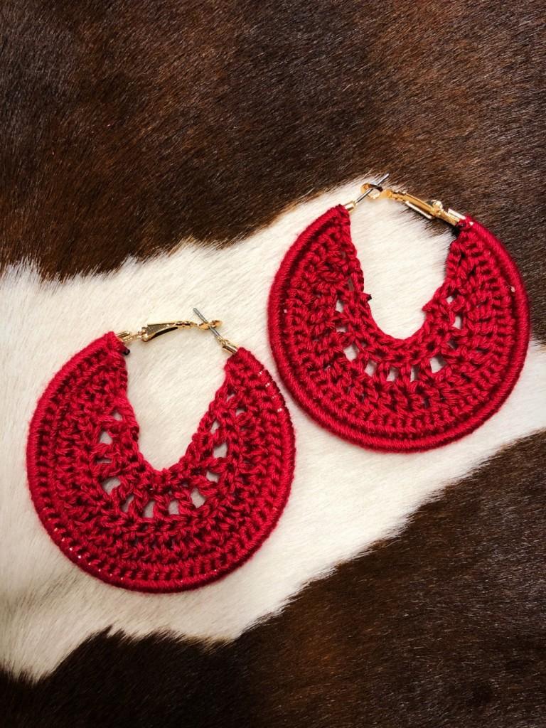 crochet moon earrings