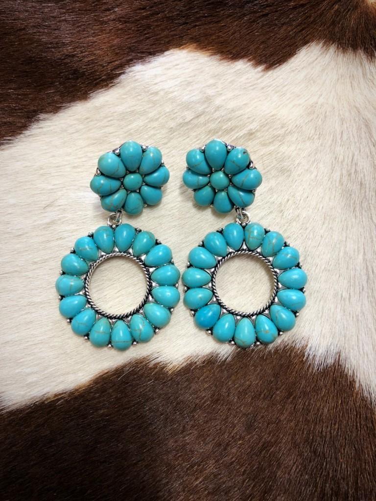 """"""" Talisa """" Flower Circle Western Earrings ( Turquoise )"""