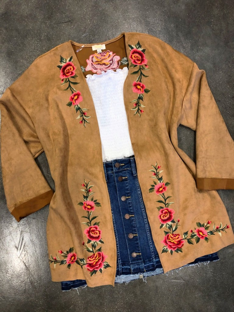 Suede Floral Embroidered Cuff Long Sleeve Kimono