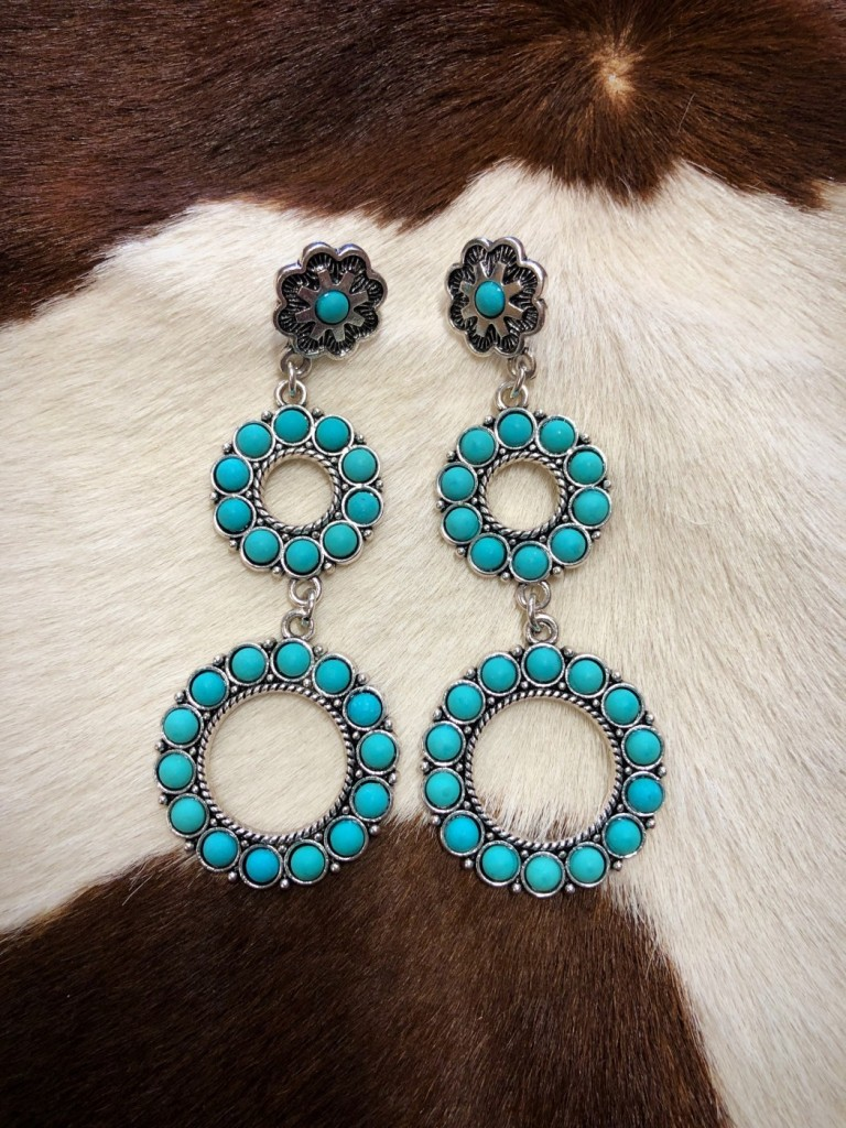 """ Lauren "" Floral & Circle Drop Earrings ( Turquoise )"