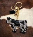 Rhinestone Cow Keychain