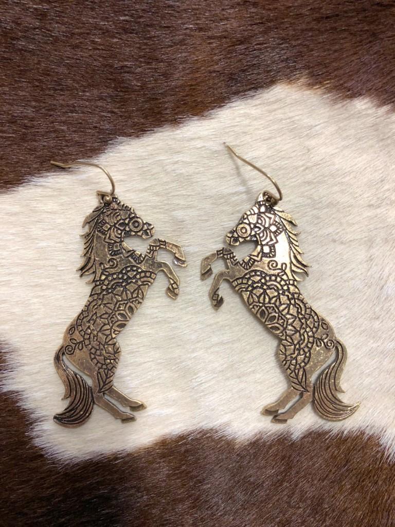western horse earrings