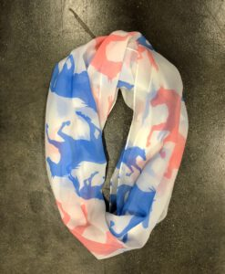 """ Girly Cowgirl "" Horse Print Scarf ( Blue / Pink )"