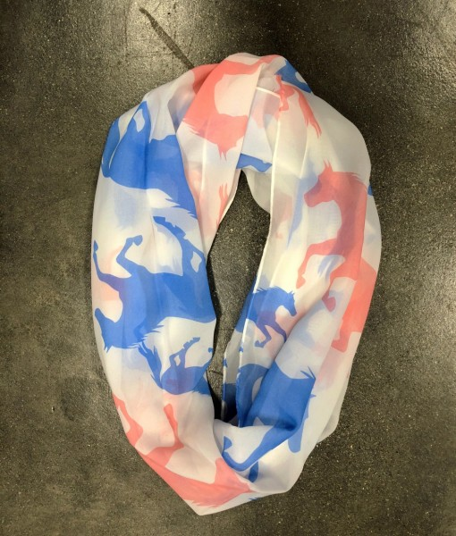 """"""" Girly Cowgirl """" Horse Print Scarf ( Blue / Pink )"""