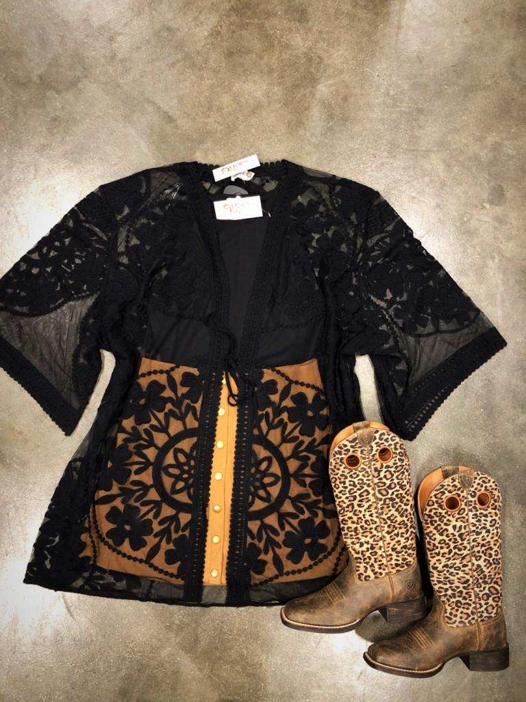 black lace sheer kimono