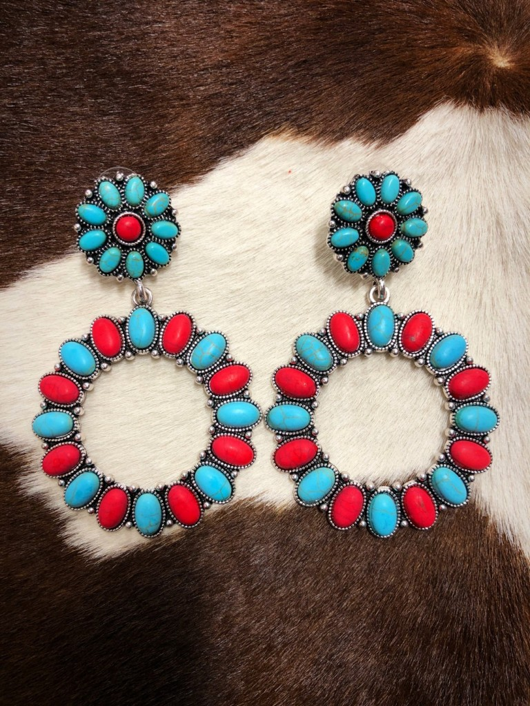 western earrings turquoise red