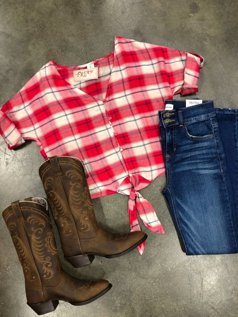 Plaid Front Tie Crop Top ( Red )