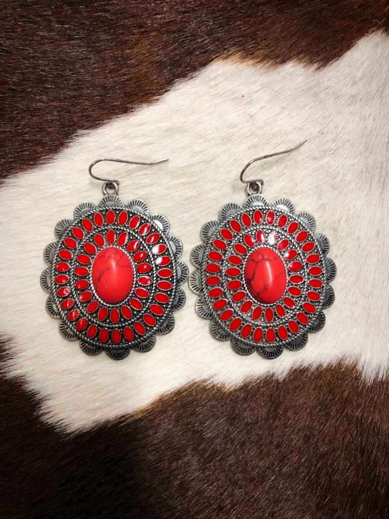 """"""" Rubina """" Western Concho Earrings ( Red )"""