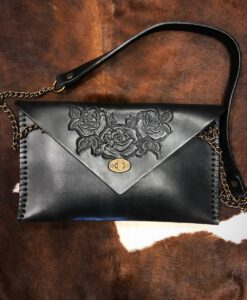 rose envelop tooled clutch