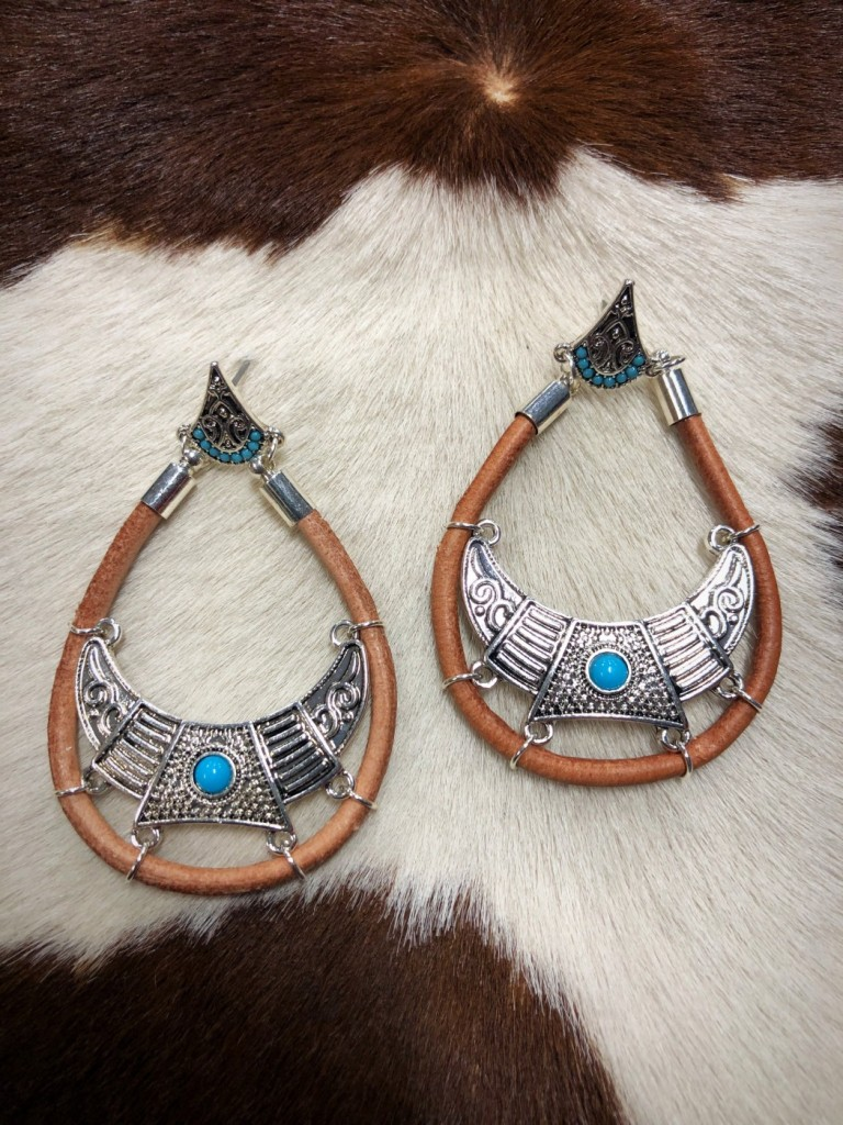 """"""" Tipi """" Leather & Turquoise Earrings"""