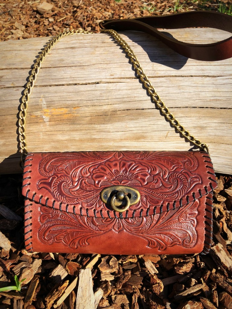 western tooled bag