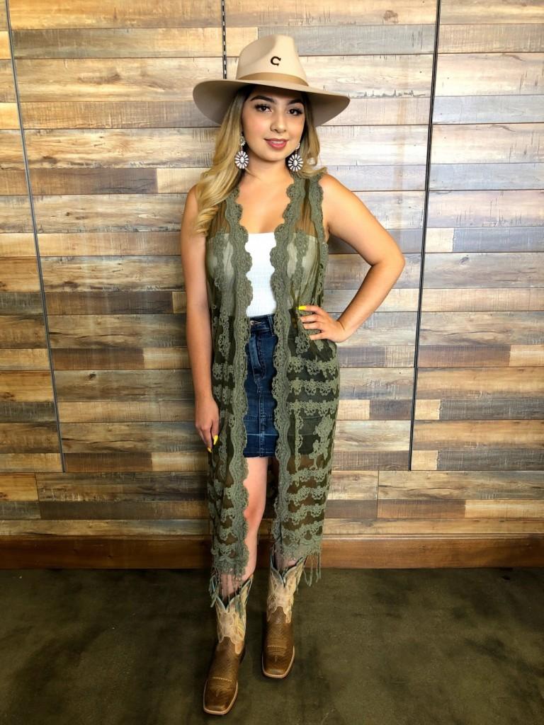 """ Tatiana "" Sheer Lace Fringe Kimono ( Olive Green )"