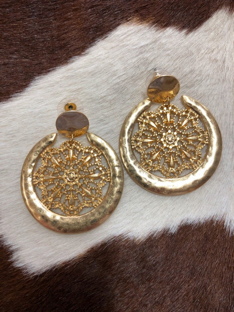""""""" Reina """" Floral Cut Out Detail Earrings"""