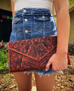 naturally rich tooled clutch