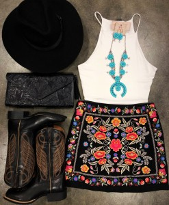embroidery floral skirt