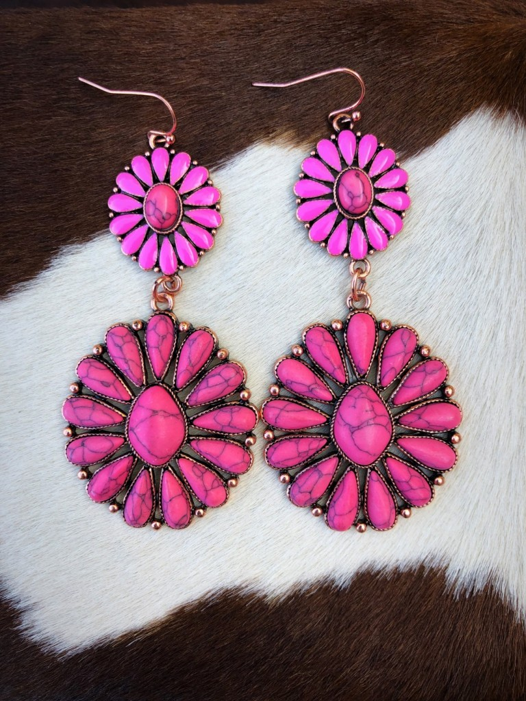 """ Raven "" Floral Stone Earrings ( Pink )"