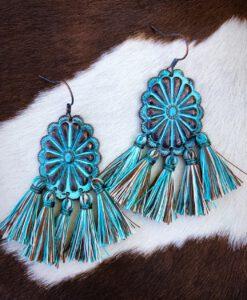 Western Concho Tassel Earrings ( Patina )