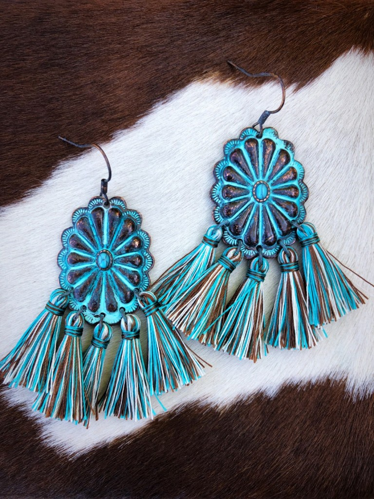 Western Concho Tassel Earrings ( Patina )