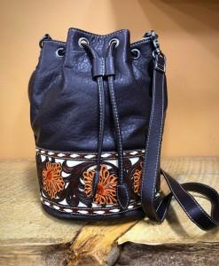 western tooled bucket bag