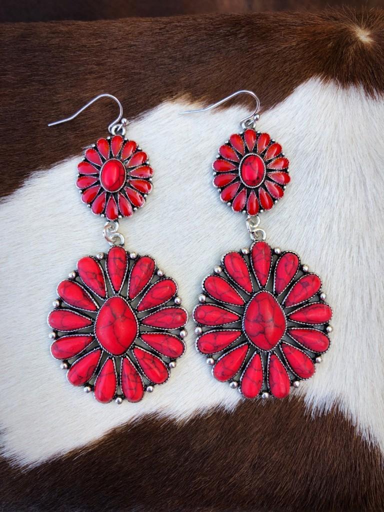 RED STONE WESTERN EARRINGS