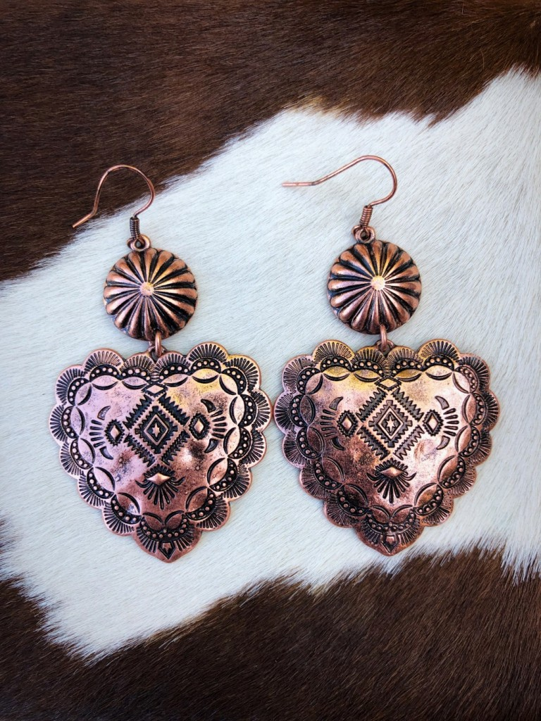 """ Love Me "" Heart Concho Drop Earrings ( Copper )"