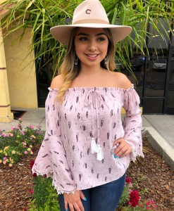 """ Feather "" Off Shoulder Top ( Pink )"